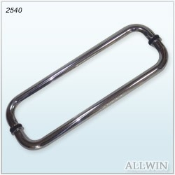 Glass Mounted Rounded Corner Square Tube Door Handle Back to Back