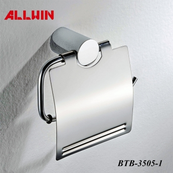 Sanitary paper tissue roll holder with cover