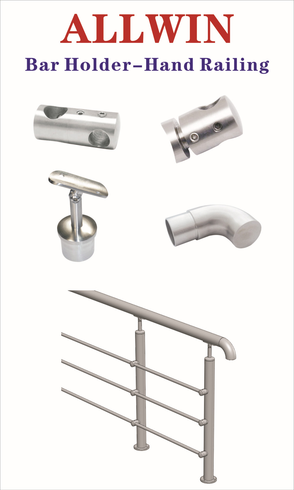 Stainless Steel Hand Railing Pipe Bar Adapter Crossbar