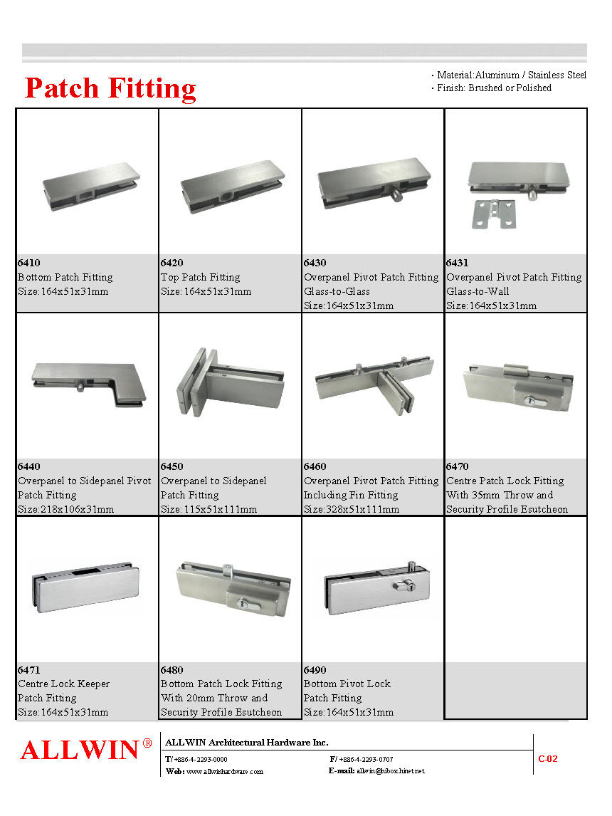 Standard Top Patch Fitting Product 2 7 007 4 6420h