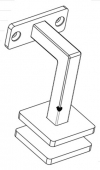 Flat Saddle Glass Mounted Pin Alignment Square Handrail Bracket