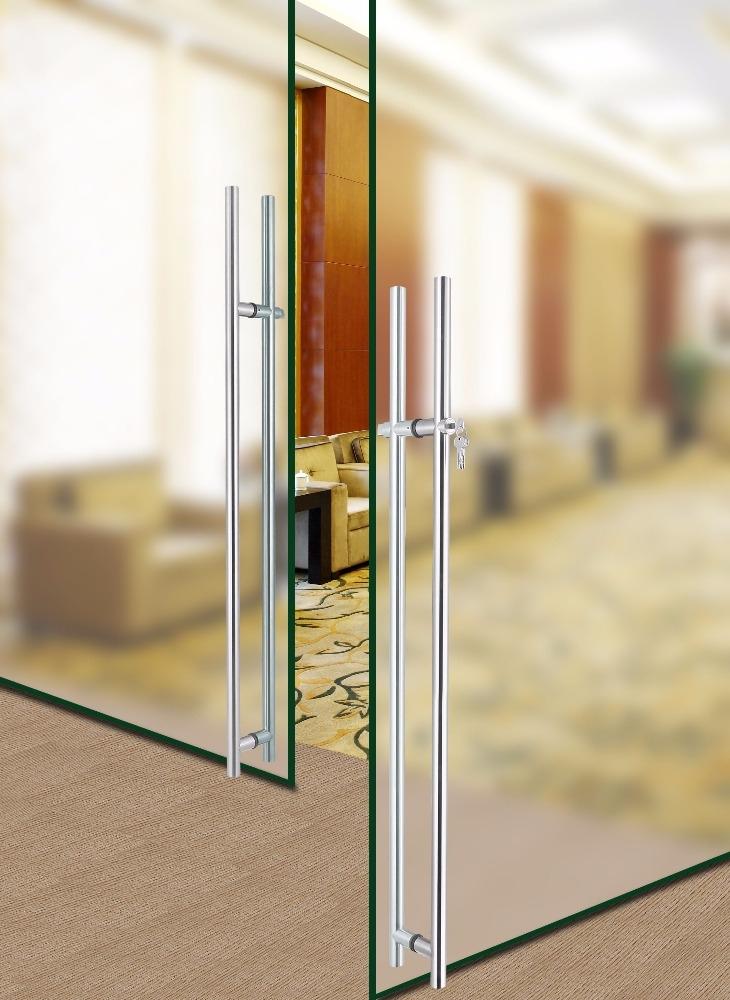 Brushed Stainless Steel Push Pull Door Handle Locking Ladder Pulls ...