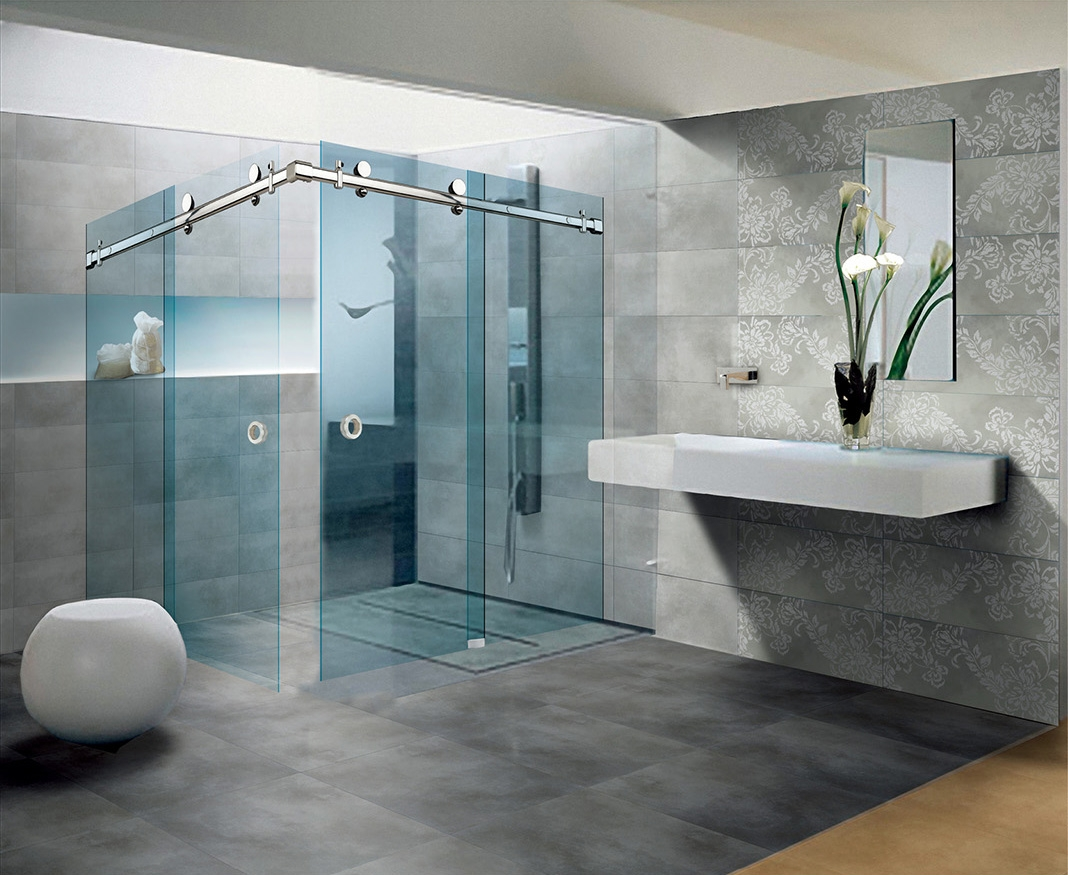 Stainless Steel Sliding System Glass Shower Door Product Sd 10 1 6805