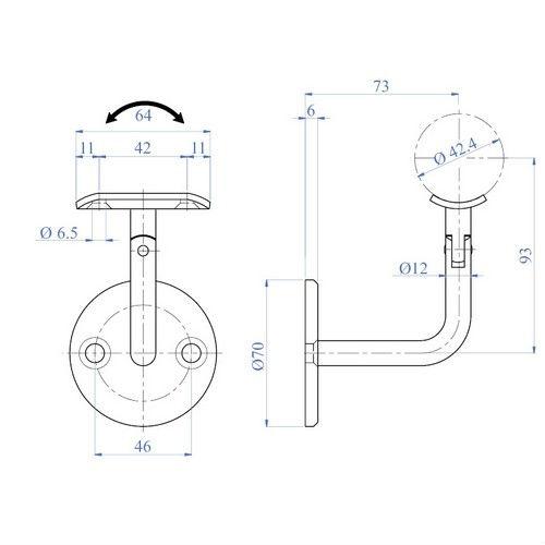 Wall mount Adjustable Hand railing Bracket product-4-04-33 ...